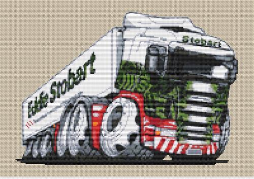 Eddie Stobart Refrigerated Lorry Cross Stitch Chart By Stitchtastic
