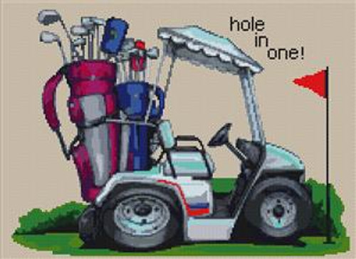 Hole In One Golfing Cross Stitch Chart