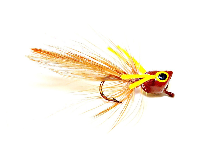 Panfish Popper - Brown body/Yellow legs