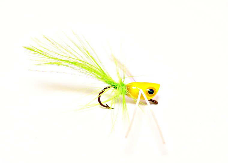 Panfish Popper - Chartreuse body/White Legs