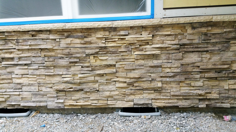 "NW  Stack Stone. No Grouting. Easy to install 4"" x 20"" panels. Looks like you put on individual stones. Don't forget to get the sills or corners pieces both sold by the lineal foot $7.95"