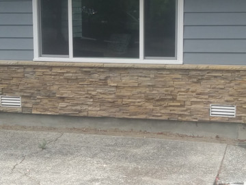 """NW Stacked Stone  - Snoqualmie color. Easy to install 4""""x20"""" panels. Great for the DIYer. No grout."""