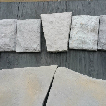 Trim block 6x8 and 6x6. Key Stone (the middle one) is separate. Use around window, doors and fireplaces. Available in gray or yellow.