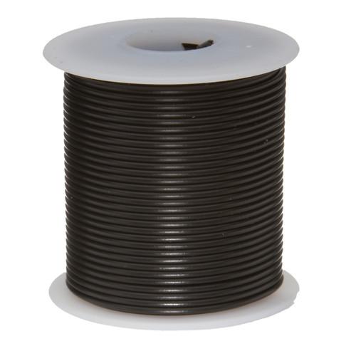 "22 AWG Gauge Stranded Hook Up Wire, 25 ft Length, Black, 0.0253"" Diameter, PTFE, 600 Volts, 22PTFESTRBLA25"