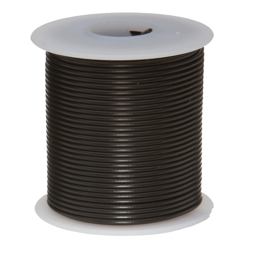 "26 AWG Gauge Stranded Hook Up Wire, 25 ft Length, Black, 0.0190"" Diameter, PTFE, 600 Volts, 26PTFESTRBLA25"
