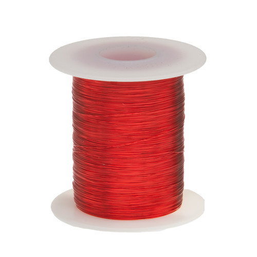 """Remington Industries. Magnet Wire, Enameled Copper Wire, 30 AWG, Heavy Build, 2 oz, 610' Length, 0.0094"""" Diameter, Red color."""