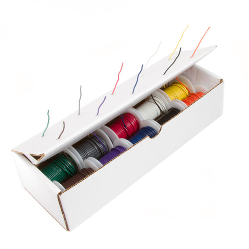 """16 AWG Gauge GPT Primary Wire Kit, Stranded Hook Up Wire, 10 Colors, 25 ft Length Each, 0.0508"""" Diameter, 60 Volts, 16STRGPTKIT10COLOR"""
