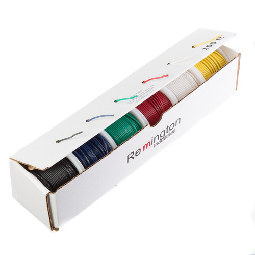"18 AWG Gauge Solid Hook Up Wire Kit, 100 ft Length Each, 0.0403"" Diameter, UL1007, 300 Volts, 18UL1007SLDKIT100"