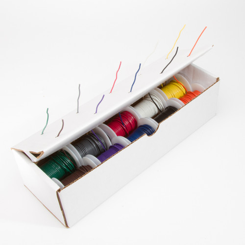 "24 AWG Gauge Solid Hook Up Wire Kit, 25 ft Length Each, 10 Colors, 0.0201"" Diameter, UL1007, 300 Volts, 24UL1007SLDKIT10COLOR"