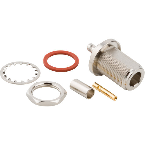 N-Type Female Bulkhead Coaxial Connector Components, Threaded Panel Mount Jack for RG-58, RG-141, RG-303, LMR-195 Cables
