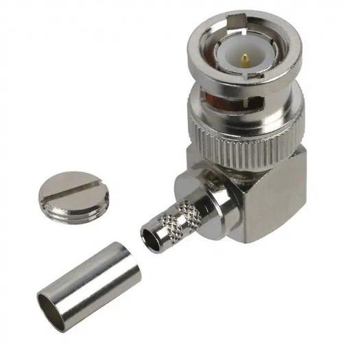 BNC Male Right Angle Coaxial Connector Components, Bayonet 90° Plug for RG-55, RG-142, RG-223, RG-400 Cables