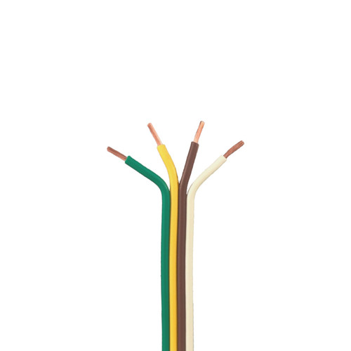 4 Conductor Trailer Cable, Bonded 16 AWG GPT, Color Coded PVC Wires - 16 Lengths Available