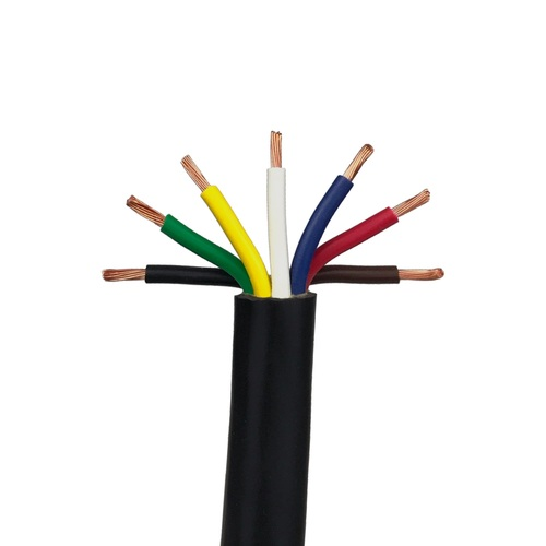 7 Conductor Trailer Cable, 14 AWG GPT, Color Coded PVC Wires with Outer Jacket - 16 Lengths Available