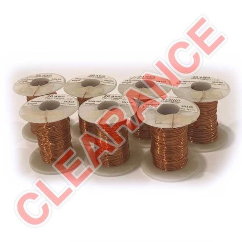 20 AWG Single Min.-Nom. Build Magnet Wire, Natural Enamel, 0.25 lb Spools, x7 Piece Lot