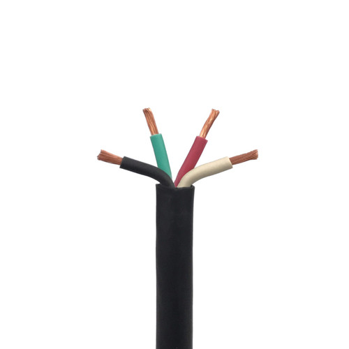 SJOOW Portable Cord, 4 Conductor 300V Power Cable, EPDM Wires with CPE Outer Jacket - 5 AWGs and 7 Lengths Available
