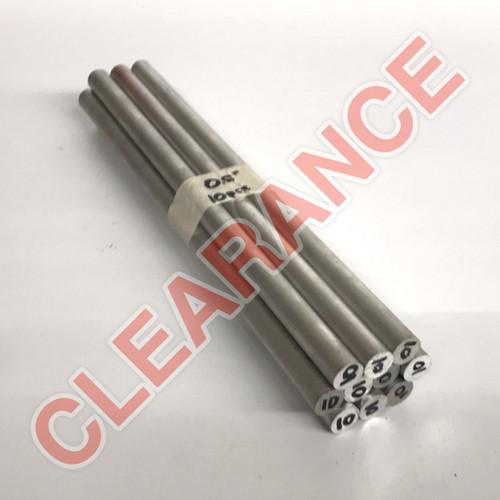 "Aluminum Round Rod, 1/2"" Diameter, 6061 General-Purpose, T6511 Mill Stock, 10"" Length, x10 Piece Lot"