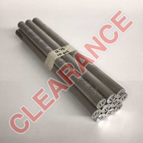 "Aluminum Round Rod, 3/4"" Diameter, 6061 General-Purpose, T6511 Mill Stock, 12"" Length, x10 Piece Lot"