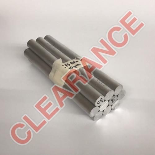 "Aluminum Round Rod, 3/4"" Diameter, 6061 General-Purpose, T6511 Mill Stock, 8"" Length, x10 Piece Lot"