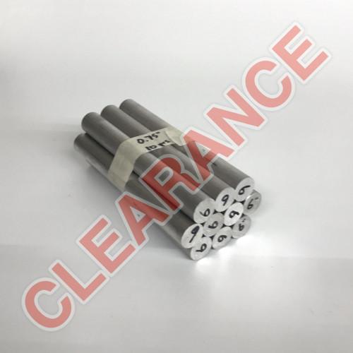 "Aluminum Round Rod, 3/4"" Diameter, 6061 General-Purpose, T6511 Mill Stock, 6"" Length, x10 Piece Lot"