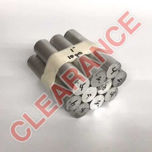 "Aluminum Round Rod, 1"" Diameter, 6061 General-Purpose, T6511 Mill Stock, 4"" Length, x10 Piece Lot"