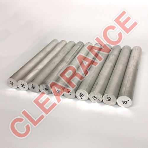 "Aluminum Round Rod, 1-1/8"" Diameter, 6061 General-Purpose, T6511 Mill Stock, 10"" Length, x10 Piece Lot"