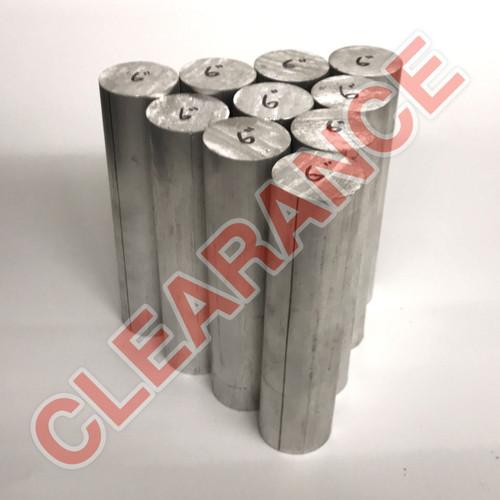 "Aluminum Round Rod, 1-1/2"" Diameter, 6061 General-Purpose, T6511 Mill Stock, 6"" Length, x10 Piece Lot"