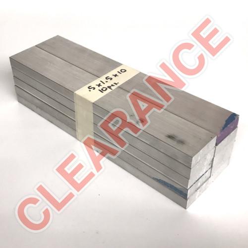 "Aluminum Flat Bar, 1/2"" x 1-1/2"", 6061 General-Purpose, T6511 Mill Stock, 10"" Length, x10 Piece Lot"