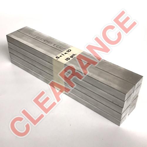 "Aluminum Flat Bar, 1/2"" x 1"", 6061 General-Purpose, T6511 Mill Stock, 10"" Length, x10 Piece Lot"