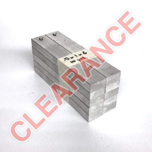"Aluminum Flat Bar, 1/2"" x 1"", 6061 General-Purpose, T6511 Mill Stock, 6"" Length, x10 Piece Lot"