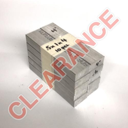 "Aluminum Flat Bar, 1/2"" x 1"", 6061 General-Purpose, T6511 Mill Stock, 4"" Length, x10 Piece Lot"