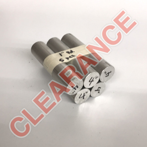 "Aluminum Round Rod, 1"" Diameter, 6061 General-Purpose, T6511 Mill Stock, 4"" Length, x5 Piece Lot"