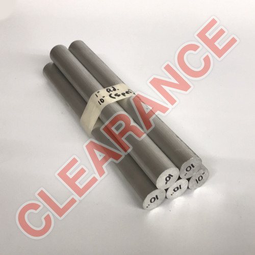 "Aluminum Round Rod, 1"" Diameter, 6061 General-Purpose, T6511 Mill Stock, 10"" Length, x5 Piece Lot"