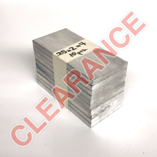 "Aluminum Flat Bar, 1/4"" x 2"", 6061 General-Purpose, T6511 Mill Stock, 4"" Length, x10 Piece Lot"