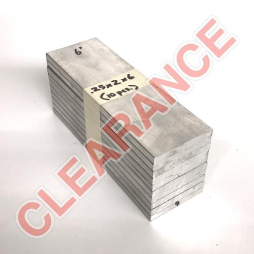 "Aluminum Flat Bar, 1/4"" x 2"", 6061 General-Purpose, T6511 Mill Stock, 6"" Length, x10 Piece Lot"