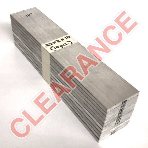 "Aluminum Flat Bar, 1/4"" x 2"", 6061 General-Purpose, T6511 Mill Stock, 10"" Length, x10 Piece Lot"