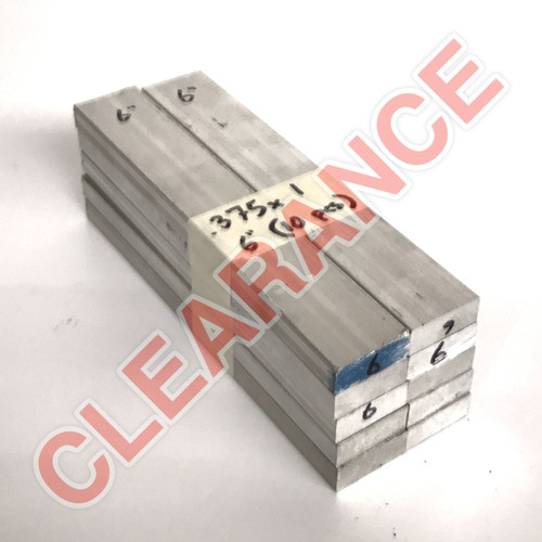 "Aluminum Flat Bar, 3/8"" x 1"", 6061 General-Purpose, T6511 Mill Stock, 6"" Length, x10 Piece Lot"