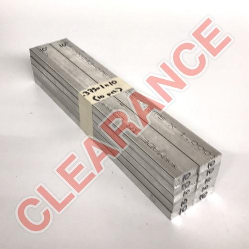 "Aluminum Flat Bar, 3/8"" x 1"", 6061 General-Purpose, T6511 Mill Stock, 10"" Length, x10 Piece Lot"