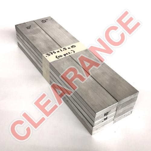 "Aluminum Flat Bar, 3/8"" x 1-1/2"", 6061 General-Purpose, T6511 Mill Stock, 10"" Length, x10 Piece Lot"