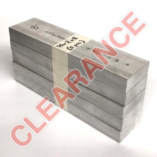 "Aluminum Flat Bar, 3/4"" x 2"", 6061 General-Purpose, T6511 Mill Stock, 8"" Length, x5 Piece Lot"