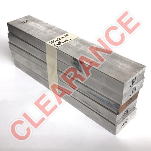 "Aluminum Flat Bar, 3/4"" x 2"", 6061 General-Purpose, T6511 Mill Stock, 10"" Length, x5 Piece Lot"