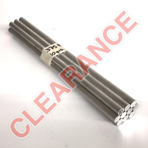 "Aluminum Round Rod, 3/8"" Diameter, 6061 General-Purpose, T6511 Mill Stock, 10"" Length, x10 Piece Lot"