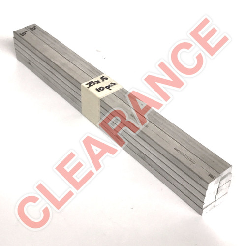 "Aluminum Flat Bar, 1/4"" x 1/2"", 6061 General-Purpose, T6511 Mill Stock, 10"" Length, x10 Piece Lot"