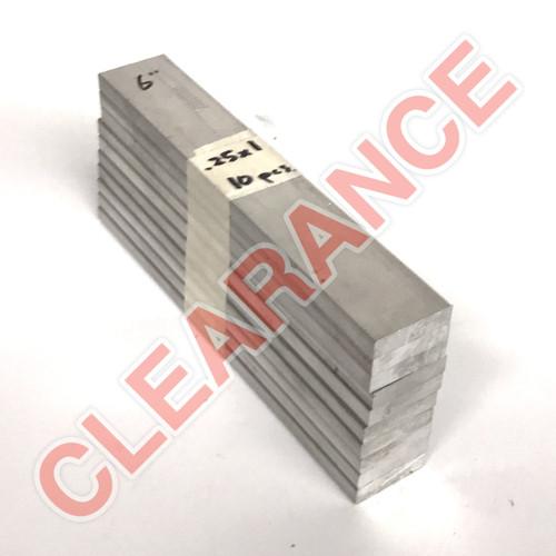 "Aluminum Flat Bar, 1/4"" x 1"", 6061 General-Purpose, T6511 Mill Stock, 6"" Length, x10 Piece Lot"