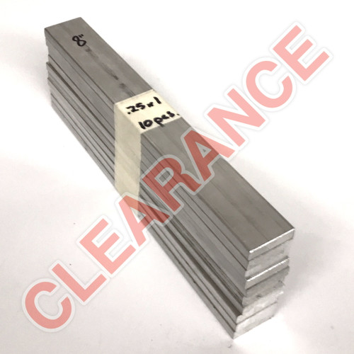 "Aluminum Flat Bar, 1/4"" x 1"", 6061 General-Purpose, T6511 Mill Stock, 8"" Length, x10 Piece Lot"