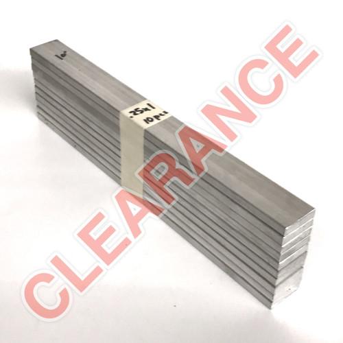 "Aluminum Flat Bar, 1/4"" x 1"", 6061 General-Purpose, T6511 Mill Stock, 10"" Length, x10 Piece Lot"