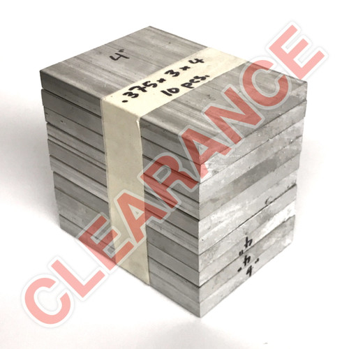 "Aluminum Flat Bar, 3/8"" x 3"", 6061 General-Purpose, T6511 Mill Stock, 4"" Length, x10 Piece Lot"