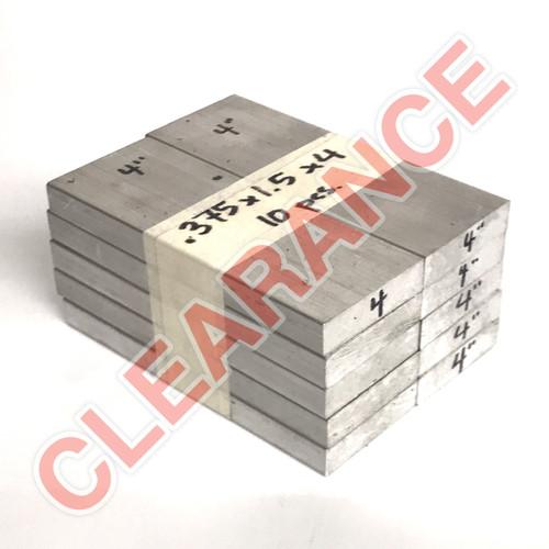 "Aluminum Flat Bar, 3/8"" x 1-1/2"", 6061 General-Purpose, T6511 Mill Stock, 4"" Length, x10 Piece Lot"