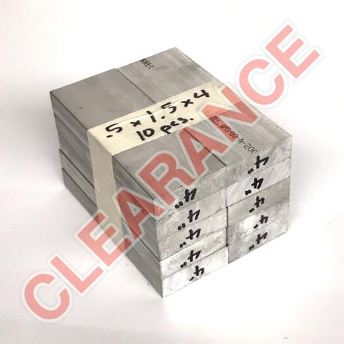 "Aluminum Flat Bar, 1/2"" x 1-1/2"", 6061 General-Purpose, T6511 Mill Stock, 4"" Length, x10 Piece Lot"