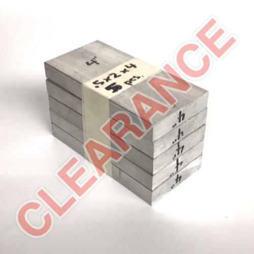 "Aluminum Flat Bar, 1/2"" x 2"", 6061 General-Purpose, T6511 Mill Stock, 4"" Length, x5 Piece Lot"