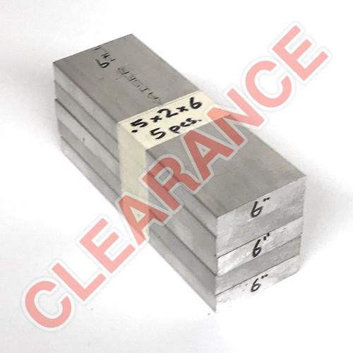 "Aluminum Flat Bar, 1/2"" x 2"", 6061 General-Purpose, T6511 Mill Stock, 6"" Length, x5 Piece Lot"
